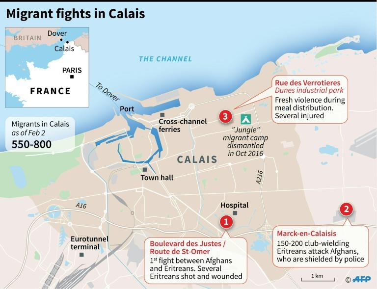 A map of Calais, France, locating the sites of clashes between migrants blamed on people smugglers