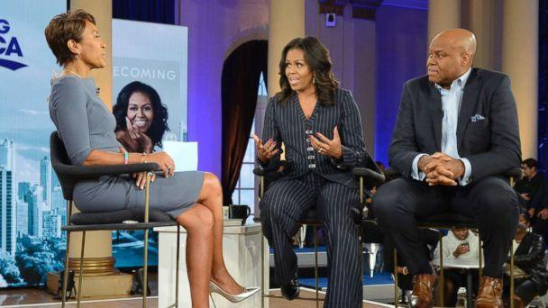 PHOTO: Former first lady Michelle Obama and her brother, Craig Robinson, speak to ABC News' Robin Roberts in Chicago, Nov. 13, 2018. (Lorenzo Bevilaqua/ABC)