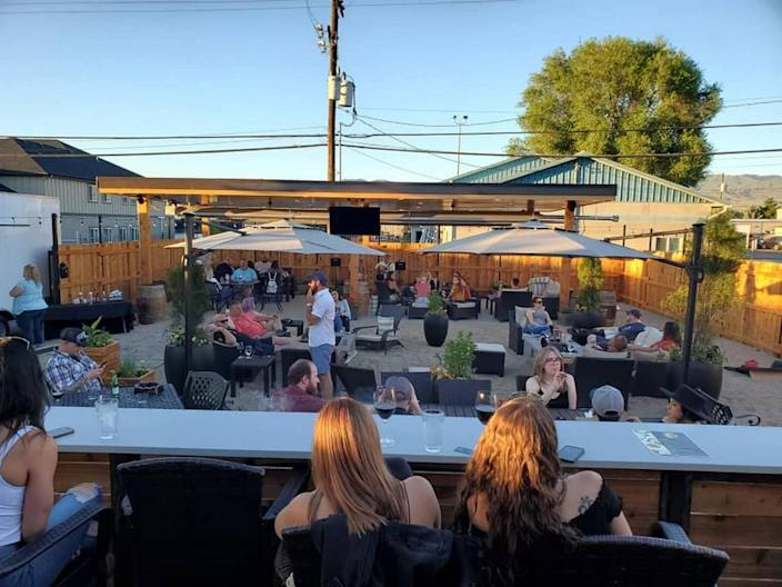 The outdoor patio at Sturman's Wine & Cigars is nestled along Chinden Boulevard in Garden City.