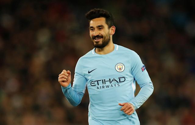 Soccer Football - Champions League - Basel vs Manchester City - St. Jakob-Park, Basel, Switzerland - February 13, 2018 Manchester City's Ilkay Gundogan celebrates scoring their fourth goal Action Images via Reuters/Andrew Boyers