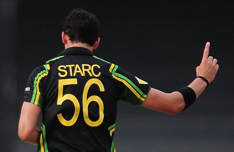 Australian cricketer Mitchell Starc celebrates after he dismissed Ireland cricketer Trent Johnston during the ICC Twenty20 Cricket World Cup match between Australia and Ireland at the R. Premadasa Stadium in Colombo on September 19, 2012. AFP PHOTO / LAKRUWAN WANNIARACHCHI