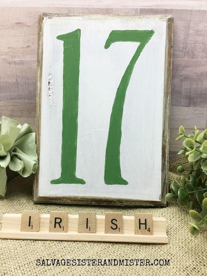 """<p>It's always a joy to find a way to repurpose old things into cool new decorations, as was the case with this thrift store plaque. But if you don't have one on hand, no worries—they can be purchased too.</p><p><strong>Get the tutorial at <a href=""""https://www.salvagesisterandmister.com/thrift-store-st-patricks-day-sign-no-17/"""" rel=""""nofollow noopener"""" target=""""_blank"""" data-ylk=""""slk:Salvage Sister & Mister"""" class=""""link rapid-noclick-resp"""">Salvage Sister & Mister</a>.</strong></p><p><a class=""""link rapid-noclick-resp"""" href=""""https://go.redirectingat.com?id=74968X1596630&url=https%3A%2F%2Fwww.walmart.com%2Fsearch%2F%3Fquery%3Dwood%2Bplaque&sref=https%3A%2F%2Fwww.thepioneerwoman.com%2Fhome-lifestyle%2Fcrafts-diy%2Fg34931626%2Fst-patricks-day-decorations%2F"""" rel=""""nofollow noopener"""" target=""""_blank"""" data-ylk=""""slk:SHOP WOOD PLAQUE"""">SHOP WOOD PLAQUE</a><br></p>"""