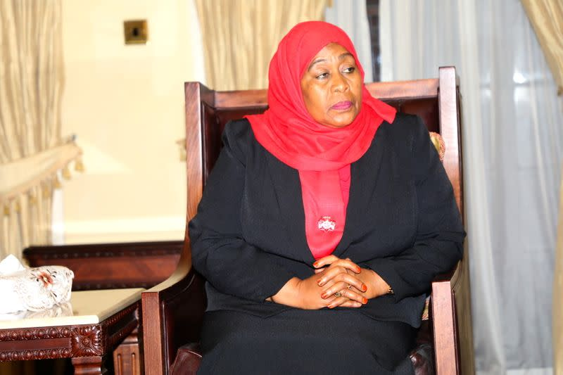 Tanzania's new President Samia Suluhu Hassan is seen after taking oath of office following the death of her predecessor John Pombe Magufuli at State House in Dar es Salaam