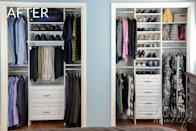 """<p>By adding vertical organizers smack dab in the middle of each closet, every category of clothing got its own dedicated space — including shirts, dresses, and even bags. Genius.</p><p><em><a href=""""http://www.organizinghomelife.com/1000-easyclosets-organized-closet-giveaway/"""" rel=""""nofollow noopener"""" target=""""_blank"""" data-ylk=""""slk:See more at Organizing Home Life »"""" class=""""link rapid-noclick-resp"""">See more at Organizing Home Life »</a></em></p><p><strong>What you'll need: </strong><span class=""""redactor-invisible-space"""">closet system, $128, <a href=""""https://www.wayfair.com/ClosetMaid-SuiteSymphony-72W-108W-Closet-System-CLOP1295.html"""" rel=""""nofollow noopener"""" target=""""_blank"""" data-ylk=""""slk:wayfair.com"""" class=""""link rapid-noclick-resp"""">wayfair.com</a></span><br></p>"""