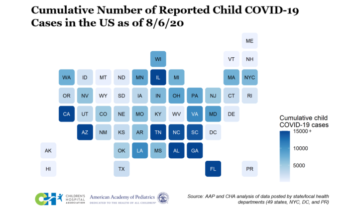 A graphic representation of the cumulative number of reported child COVID-19 cases in the United States as of August 6, 2020, according to data compiled by the American Academy of Pediatrics. / Credit: American Academy of Pediatrics
