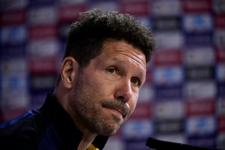 Atletico Madrid's coach Diego Simeone looks on during a press conference at Atletico de Madrid's sport city in Majadahonda on April 7, 2017