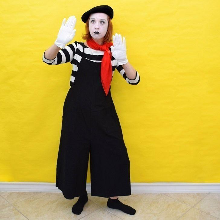 """<p>If you're on the hunt for a cheap costume, raid your closet. You don't need much to become a mime—some black pants or overalls and a striped shirt, plus accessories like a scarf, a hat, and gloves will do. </p><p><a class=""""link rapid-noclick-resp"""" href=""""https://www.dreamalittlebigger.com/post/easy-diy-mime-costume.html"""" rel=""""nofollow noopener"""" target=""""_blank"""" data-ylk=""""slk:GET THE TUTORIAL"""">GET THE TUTORIAL</a></p><p><a class=""""link rapid-noclick-resp"""" href=""""https://www.amazon.com/Hat-Socks-Blend-French-Colours/dp/B01M69HD6O/?tag=syn-yahoo-20&ascsubtag=%5Bartid%7C10072.g.33547559%5Bsrc%7Cyahoo-us"""" rel=""""nofollow noopener"""" target=""""_blank"""" data-ylk=""""slk:SHOP BERET"""">SHOP BERET</a></p>"""