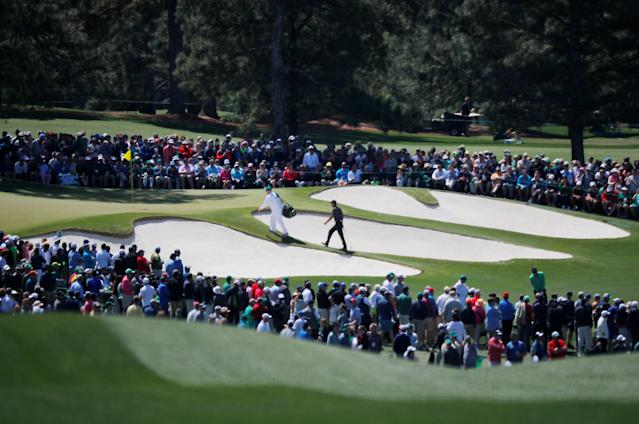 Tiger Woods of the U.S. walks onto the 7th green during first round play of the 2018 Masters golf tournament at the Augusta National Golf Club in Augusta, Georgia. (REUTERS)