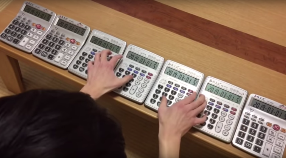 Japanese YouTuber Atarime uses up to seven calculators at a time to make music.