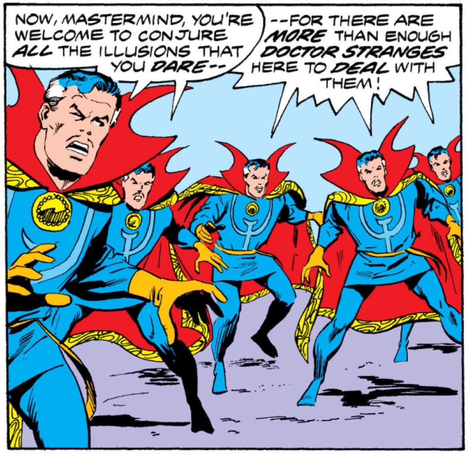 A panel from a comic shows multiple doctor stranges as he uses the images of ikkon a power which allows him to duplicate himself