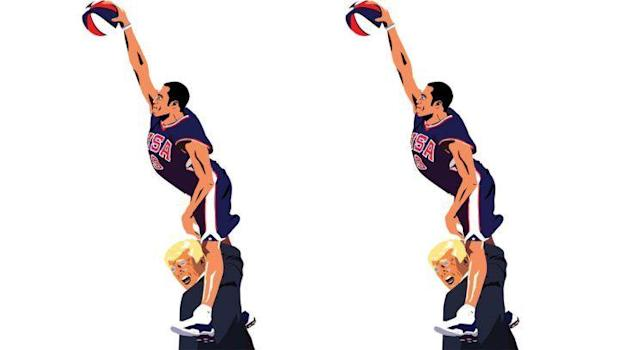 Vince Carter's iconic dunk over Frederic Weis in the 2000 Olympics is being recreated into a posterization of Donald Trump. (Photo from Twitter)
