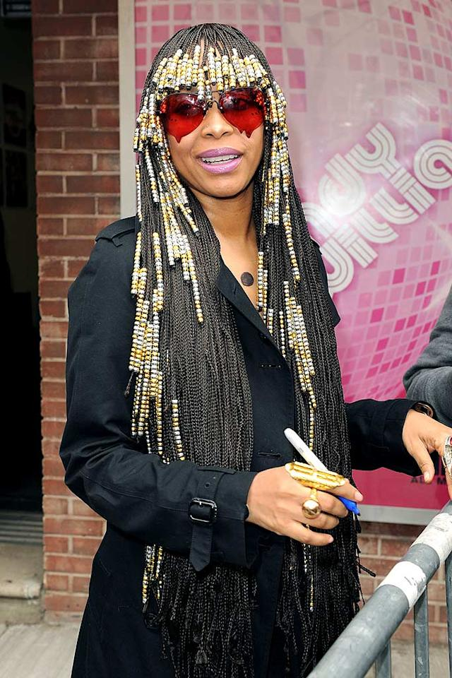 "Soul diva Erykah Badu is known for her funky sense of style, but we're not sure about the Rick James-inspired 'do she sported while making an appearance on ""The Wendy Williams Show"" Thursday. Apparently, she's the only one seeing her ""super freaky"" beaded braids through rose-colored glasses! <a href=""http://www.splashnewsonline.com/"" target=""new"">Splash News</a> - March 25, 2010"