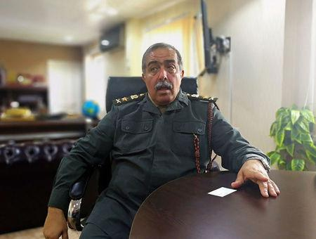 Libyan top commander Abdel-Razeq Nathouri speaks during an interview with Reuters in Marj