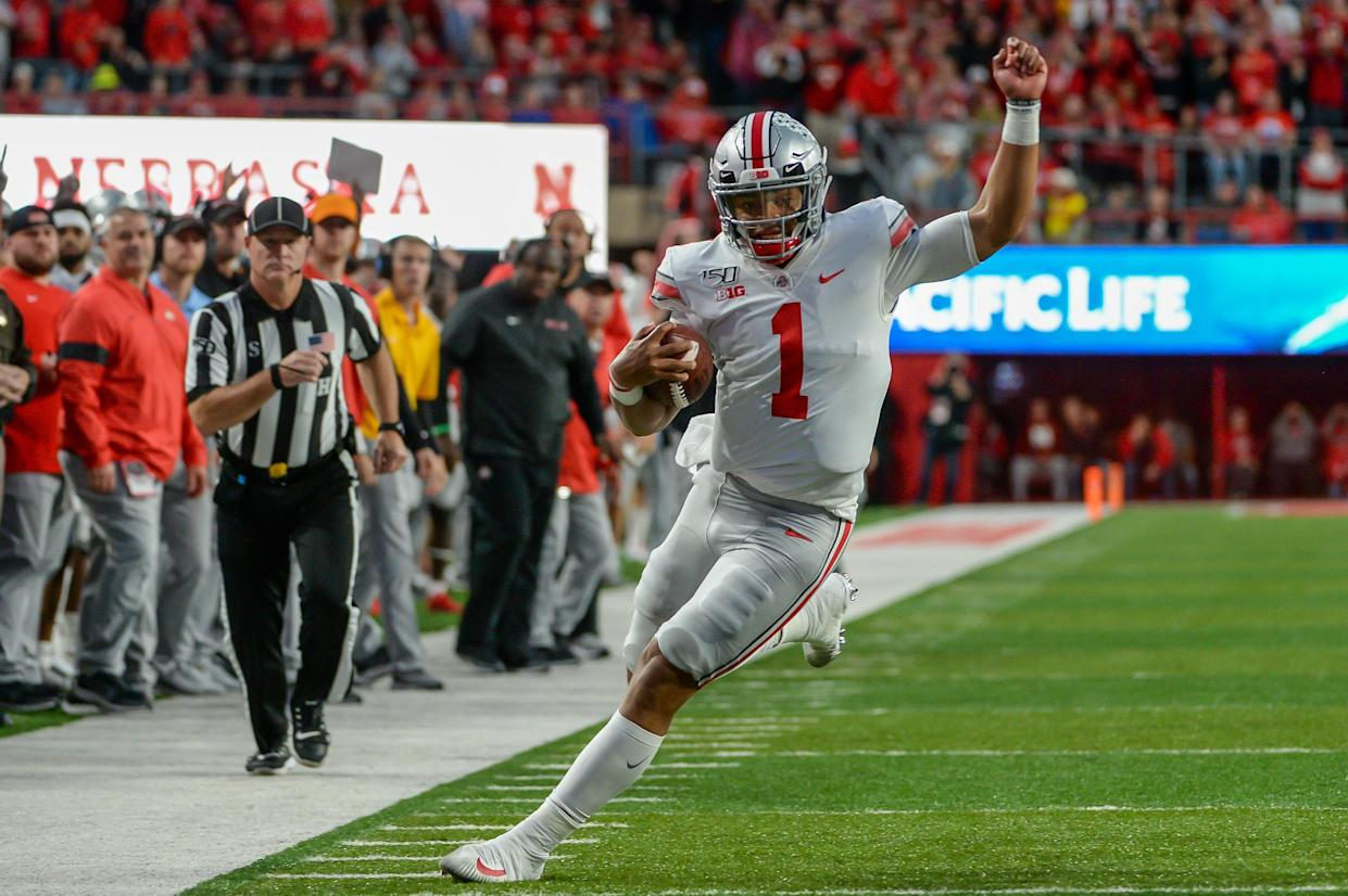 Justin Fields had four total touchdowns in Ohio State's win over Nebraska. (Photo by Steven Branscombe/Getty Images)