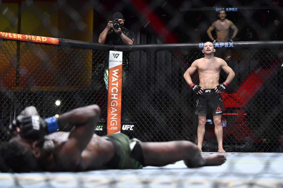 LAS VEGAS, NEVADA - MARCH 06: Petr Yan of Russia looks on after delivering an illegal knee against Aljamain Sterling in their UFC bantamweight championship fight during the UFC 259 event at UFC APEX on March 06, 2021 in Las Vegas, Nevada. (Photo by Chris Unger/Zuffa LLC)