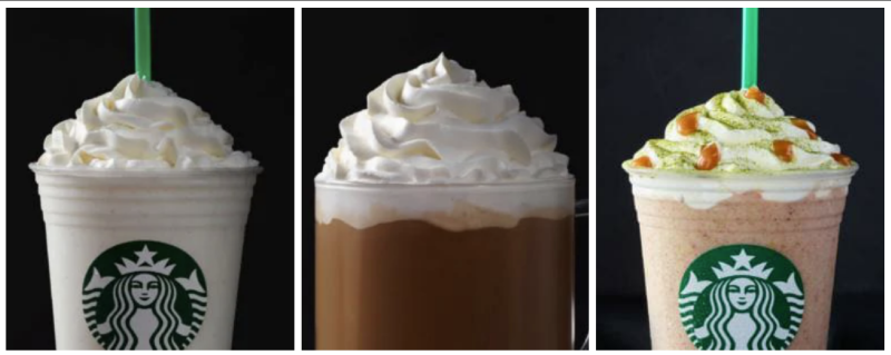 Left to right: The Cotton Candy Frappuccino, White Chocolate Mocha and Fruitcake Frappuccino are three off-menu drinks your Starbucks barista can still make for you. (Starbucks)