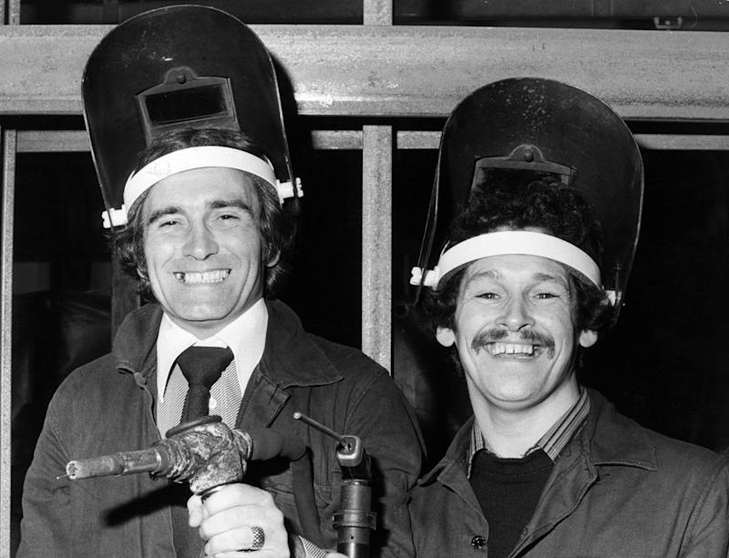 Comedy Duo, Tommy Cannon and Bobby Ball, return to the Crane Fruehauf factory in Oldham, Lancashire, where they both worked as welders, 23rd October 1978. (Photo by Jack Walker/Mirrorpix/Getty Images)