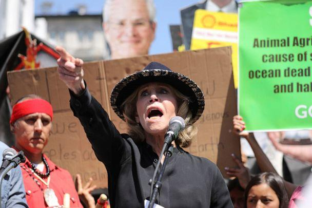 PHOTO: Actress and activist Jane Fonda talks to a crowd of protestors during a global climate rally at Pershing Square in downtown Los Angeles on Sept. 20, 2019. (David Swanson/AP, FILE)