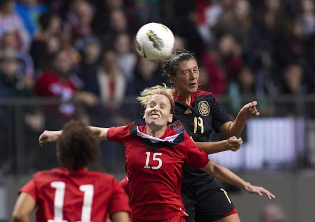 VANCOUVER, CANADA - JANUARY 27: Kelly Parker #15 of Canada and Monica Alvarado #19 of Mexico battle for the ball during the second half of semifinals action of the 2012 CONCACAF Women's Olympic Qualifying Tournament at BC Place on January 27, 2012 in Vancouver, British Columbia, Canada. (Photo by Rich Lam/Getty Images)