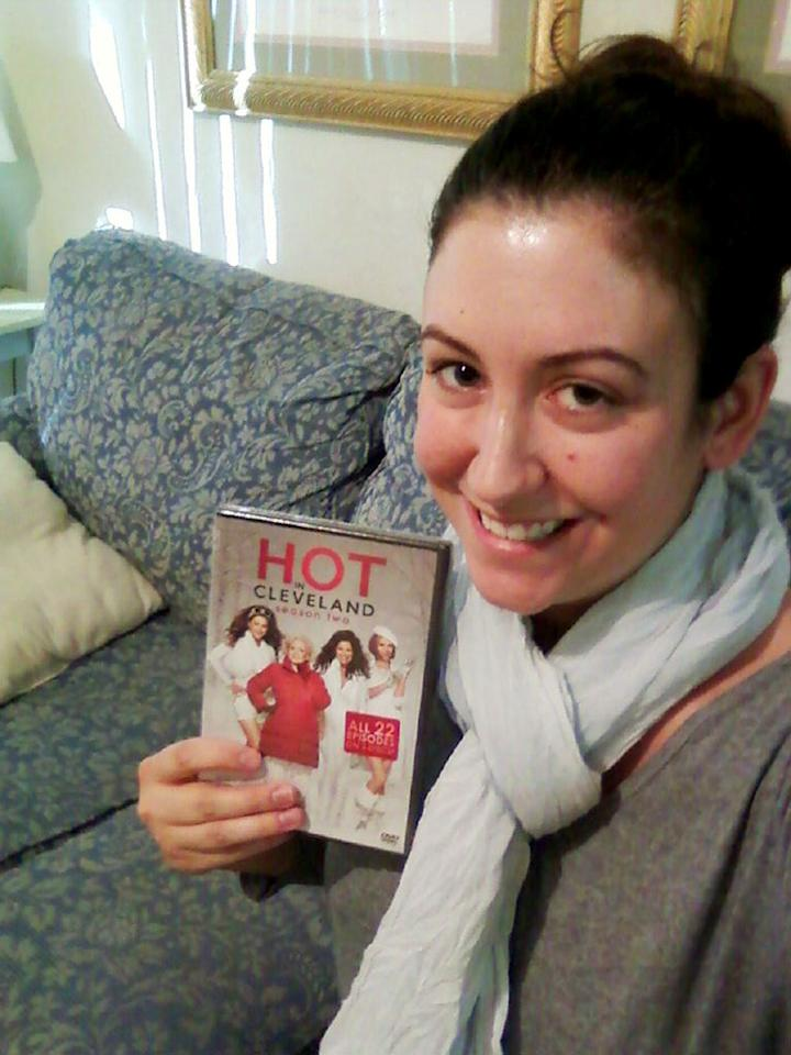 """<a href=""""https://twitter.com/#!/MegD82"""" rel=""""nofollow"""">@MegD82</a> bundles up with her """"<a href=""""/hot-in-cleveland/show/46056"""">Hot In Cleveland</a>"""" DVD."""