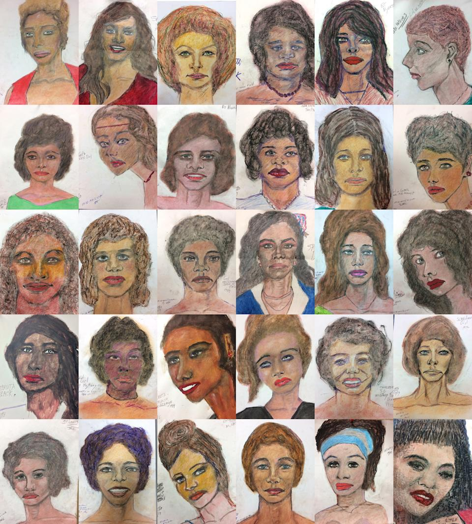 An undated composite handout photo shows 30 drawings of some of Samuel Little's victims. Source: AAP
