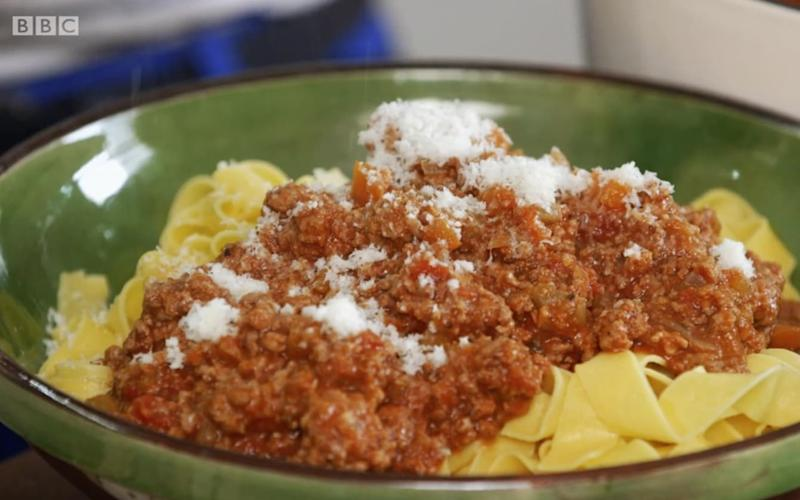Mary Berry's finished bolognese - Credit: BBC