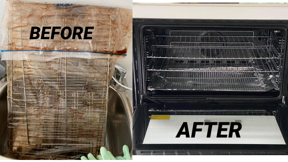 a before and after photo of a dirty oven
