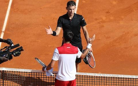 "The first Big Four showdown of 2018 will have to wait for another week, after Novak Djokovic was ousted from the Monte Carlo Masters by the clay-loving Austrian Dominic Thiem. Had Djokovic won, he would have faced Rafael Nadal on Friday in the quarter-finals – and thus set up the first meeting between two members of tennis's elite group since Nadal lost to Roger Federer in October's Shanghai final. But Djokovic, though playing more confidently than he has in recent weeks, still looked unprepared for the physical challenge of facing Thiem – a hugely fit and strong opponent who had also eliminated him from last year's French Open. Thiem showed signs of mental fragility during the first set, wasting three set points on his own serve, but managed to lift his intensity towards the end of his 6-7, 6-2, 6-3 victory. Afterwards, Djokovic spoke enthusiastically about his progress over the past week, while also revealing that he will continue to work with Marian Vajda – the old mentor whom he re-engaged a fortnight ago – until at least the end of the clay-court season. ""I'm feeling like it's been getting better every day,"" said Djokovic. ""I played without pain in the elbow, which is important. I have my coach Marian back in the box. So a lot of good things. Thiem also eliminated Djokovic from last year's French Open Credit: AFP ""I haven't played too many matches since July. I'll continue building up. I'll probably play one of the two tournaments next week [in Barcelona or Budapest]. I will decide tomorrow which one it will be. Hopefully I'm going to get a wild card."" Meanwhile, the British Fed Cup team will face Japan in the small hours of Saturday morning, British time, as they attempt to regain a place in the World Group for the first time in 25 years. Secret Service 