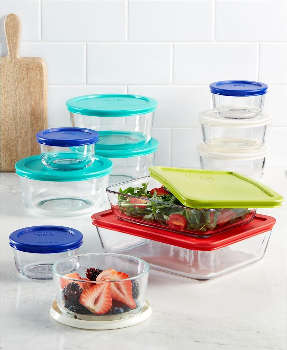 """<p><strong>Pyrex</strong></p><p>macys.com</p><p><strong>$29.99</strong></p><p><a href=""""https://go.redirectingat.com?id=74968X1596630&url=https%3A%2F%2Fwww.macys.com%2Fshop%2Fproduct%2Fpyrex-22-piece-food-storage-container-set-created-for-macys%3FID%3D2936594&sref=https%3A%2F%2Fwww.delish.com%2Ffood-news%2Fg32852340%2Fmacys-kitchen-sale-june-2020%2F"""" rel=""""nofollow noopener"""" target=""""_blank"""" data-ylk=""""slk:BUY NOW"""" class=""""link rapid-noclick-resp"""">BUY NOW</a></p><p>Chances are your storage cabinet is a total mess. No judgement here, but this 22-piece Pyrex set is the easiest way to organize.</p>"""