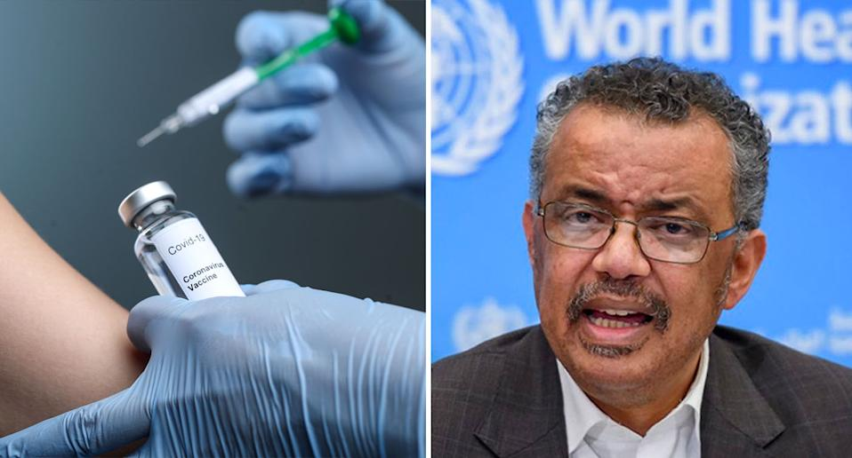 Dr Tedros has stressed the importance of equally distributing the vaccine globally. Source: AAP/ Getty