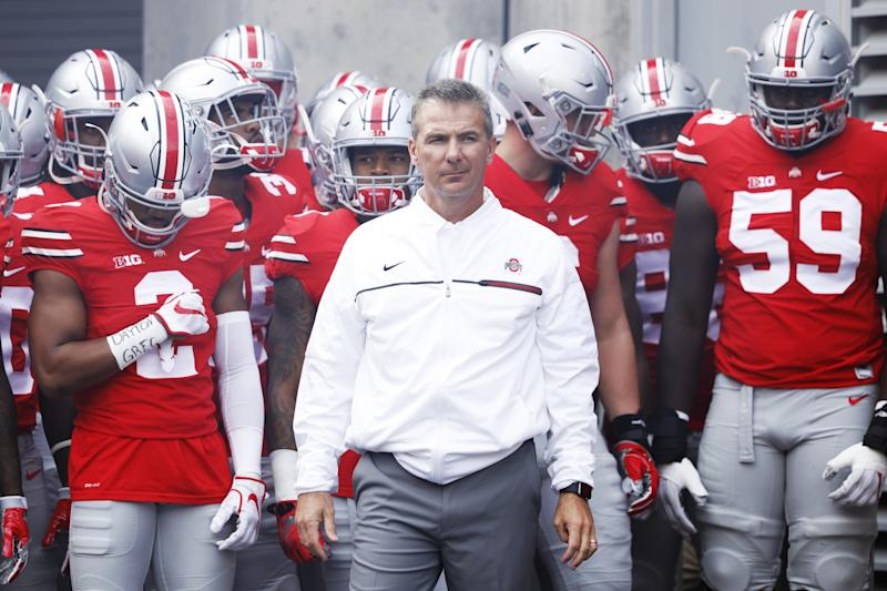 Urban Meyer and the Buckeyes are chasing another national title in 2016. (Getty)