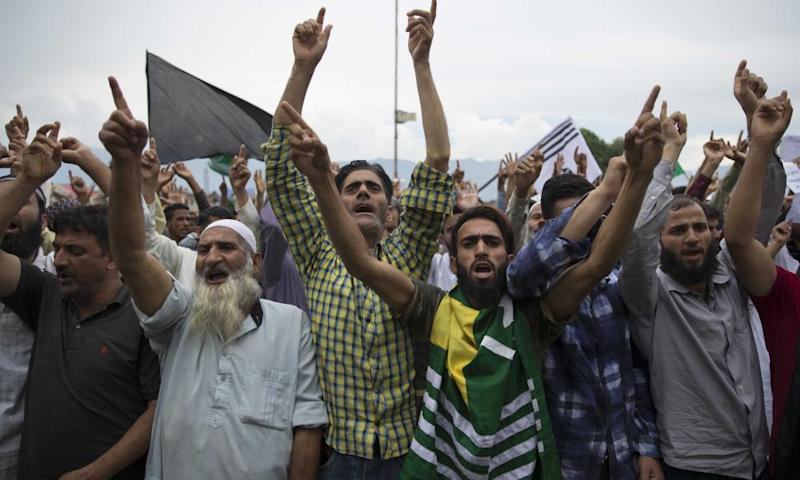 Kashmiri Muslims shout pro-freedom slogans during a demonstration on Friday.