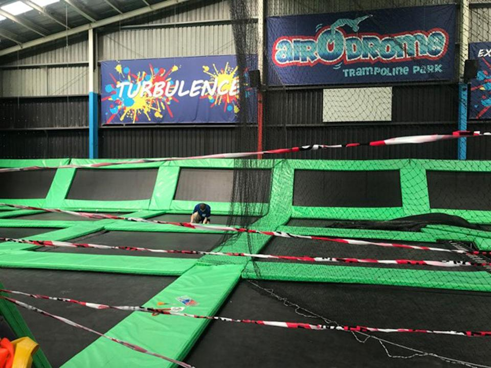 Trampolines at a centre in Melbourne's southwest appear to have been slashed. Photo: 7 News