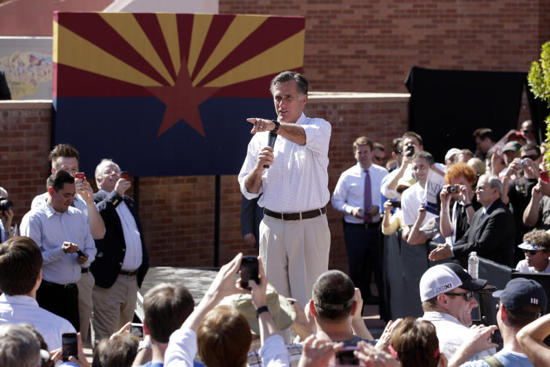 Republican presidential candidate, former Massachusetts Gov. Mitt Romney speaks at a campaign rally in Tempe, Ariz., Friday, April 20, 2012. (AP Photo/Jae C. Hong)
