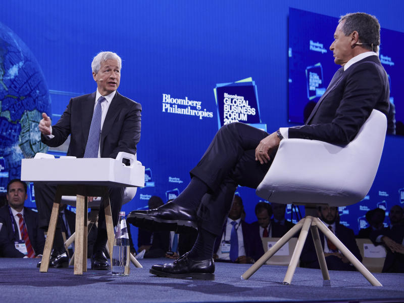 IMAGE DISTRIBUTED FOR BLOOMBERG GLOBAL BUSINESS FORUM- Jamie Dimon, JPMorgan Chase Chairman and CEO, and Bob Iger, The Walt Disney Company Chairman and CEO, speaking at the 2019 Bloomberg Global Business Forum in New York City on Wednesday, Sept. 25, 2019. (Loren Matthew /AP Images for Bloomberg Global Business Forum)
