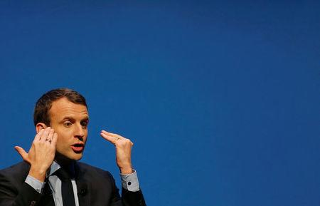 Emmanuel Macron, head of the political movement En Marche !, or Onwards !, and candidate for the 2017 presidential election, attends a meeting in Talence