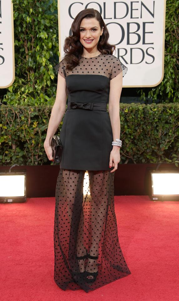 Rachel Weisz looks super chic in this black outfit.