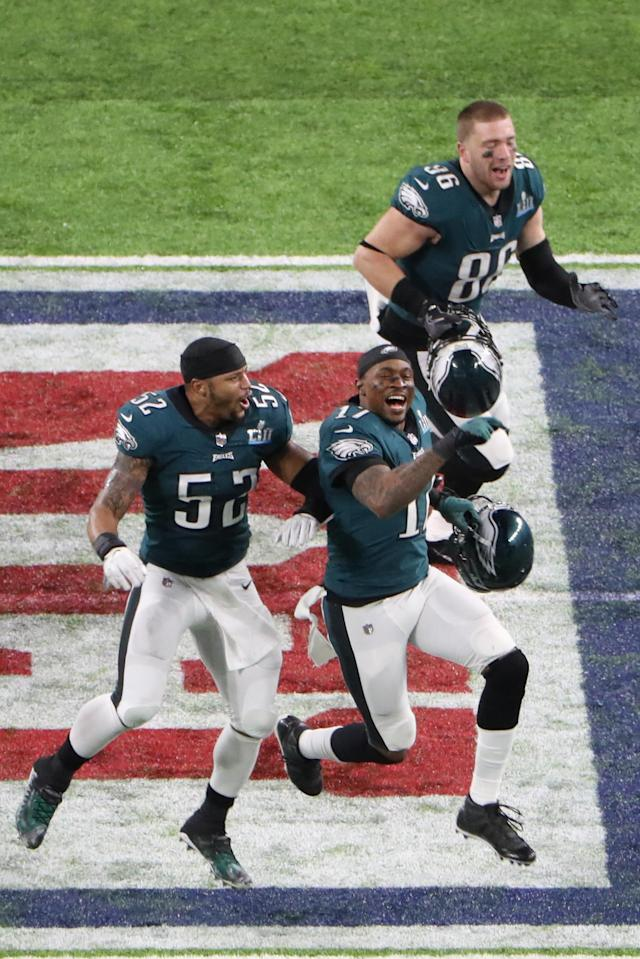 Philadelphia Eagles outside linebacker Najee Goode (52) and wide receiver Alshon Jeffery (17) and tight end Zach Ertz (86) celebrate after defeating the New England Patriots in Super Bowl LII at U.S. Bank Stadium. Mandatory Credit: Kevin Jairaj-USA TODAY Sports