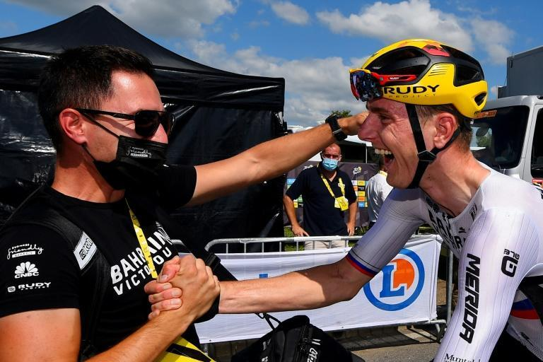 Matej Mohoric celebrating his second breakaway win on the Tour