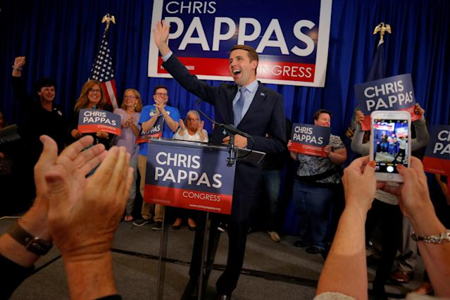 Democratic candidate for the U.S. House of Representatives Chris Pappas takes the stage at a primary election rally in Manchester, N.H., Sept. 11, 2018. (Photo: Brian Snyder/Reuters)