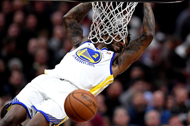 Jun 6, 2018; Cleveland, OH, USA; Golden State Warriors center Jordan Bell (2) dunks the ball against the Cleveland Cavaliers during the second quarter in game three of the 2018 NBA Finals at Quicken Loans Arena. Mandatory Credit: Ken Blaze-USA TODAY Sports TPX IMAGES OF THE DAY