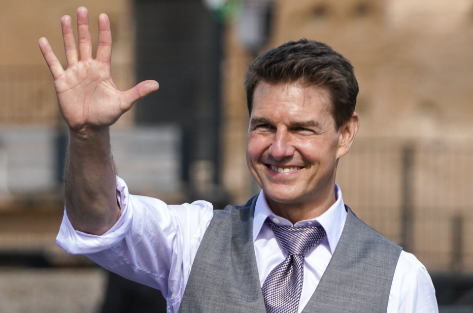"""Tom Cruise on the set of """"Mission: Impossible 7"""" - Credit: P Photo/Andrew Medichini"""
