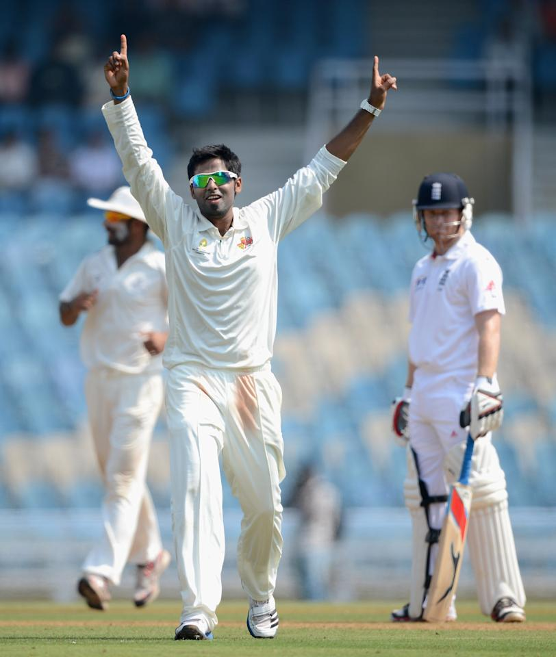 MUMBAI, INDIA - NOVEMBER 03: Suryakumar Yadav of Mumbai A celebrates dismissing Joe Root of England during day one of the tour match between Mumbai A and England at The Dr D.Y. Palit Sports Stadium on November 3, 2012 in Mumbai, India. (Photo by Gareth Copley/Getty Images)