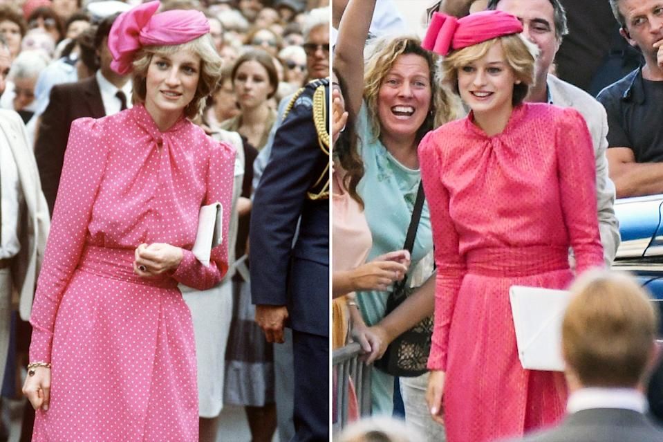 <p>This pink polka dot dress and matching fascinator calls for a royal double take!</p>