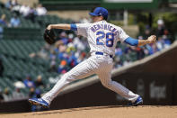 Chicago Cubs starting pitcher Kyle Hendricks (28) delivers against the Pittsburgh Pirates during the first inning of a baseball game, Sunday, May 9, 2021, in Chicago. (AP Photo/Kamil Krzaczynski)