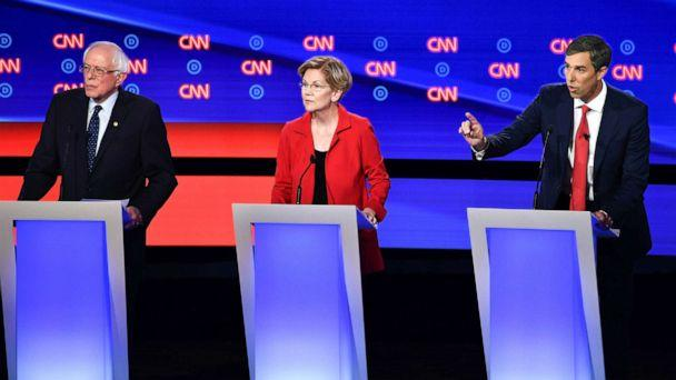 PHOTO: Democratic presidential hopefuls Sen. Bernie Sanders, Sen. Elizabeth Warren and former Rep. Beto O'Rourke participate in the first round of the second Democratic primary debate in Detroit, July 30, 2019. (Brendan Smialowski/AFP/Getty Images)