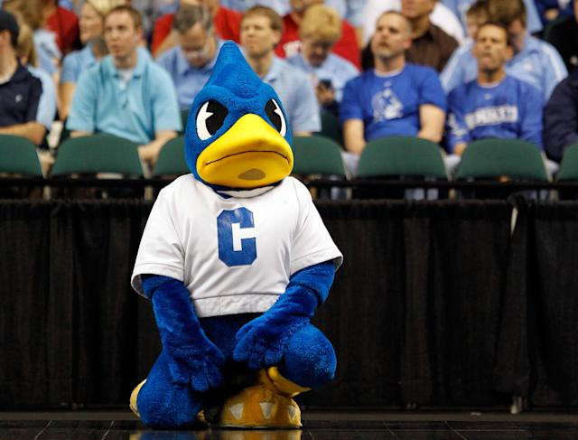 GREENSBORO, NC - MARCH 16: The Creighton Bluejays mascot performs during the second round of the 2012 NCAA Men's Basketball Tournament at Greensboro Coliseum on March 16, 2012 in Greensboro, North Carolina. (Photo by Streeter Lecka/Getty Images)