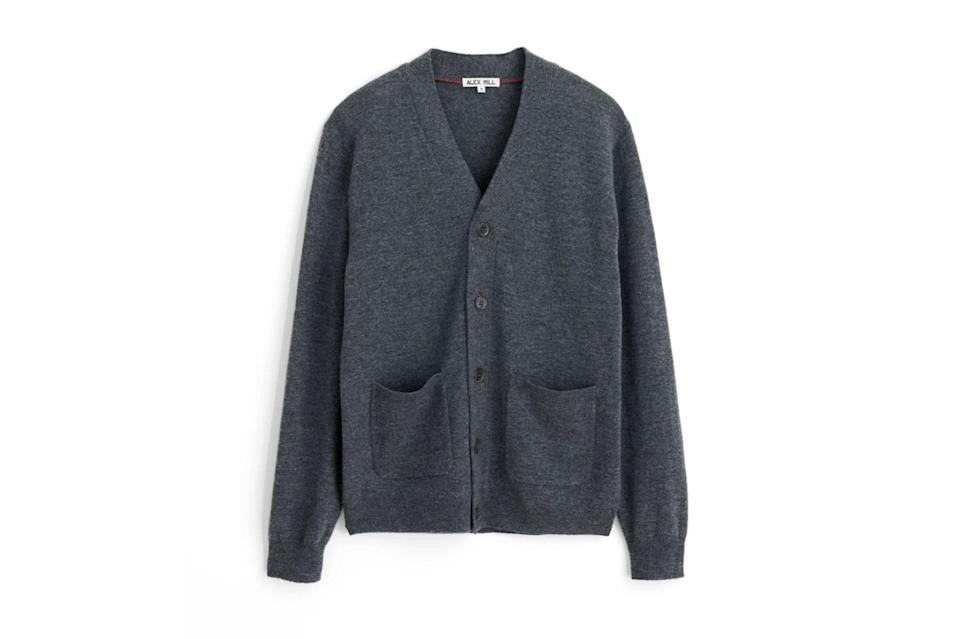 "$125, Alex Mill. <a href=""https://www.alexmill.com/collections/mens-new-arrivals/products/cardigan-in-superfine-merino-wool-in-dark-grey"" rel=""nofollow noopener"" target=""_blank"" data-ylk=""slk:Get it now!"" class=""link rapid-noclick-resp"">Get it now!</a>"