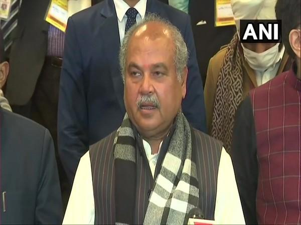 Union Agriculture Minister Narendra Singh Tomar speaking to media on Friday. (Photo/ANI)