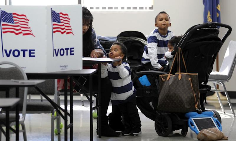 Voters fill in their ballots for the midterm election in Louisville, Kentucky.